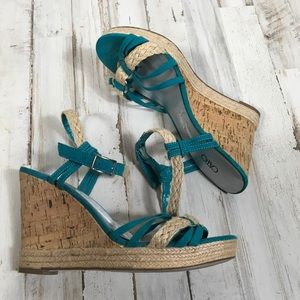 Cato Wedges Turquoise Blue Strappy High Heels Tan